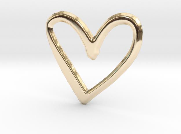 Open Heart Pendant - 27mm in 14K Yellow Gold