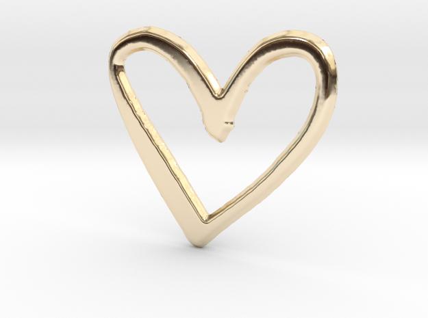 Open Heart Pendant - 36mm in 14K Yellow Gold