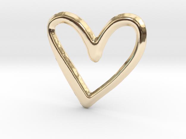 Open Heart Pendant - 22mm in 14K Yellow Gold