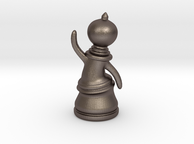 Waving Pawn in Polished Bronzed Silver Steel