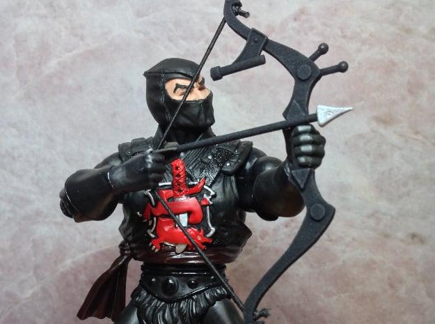 Ninja Bow & 3 Arrows in Black Natural Versatile Plastic