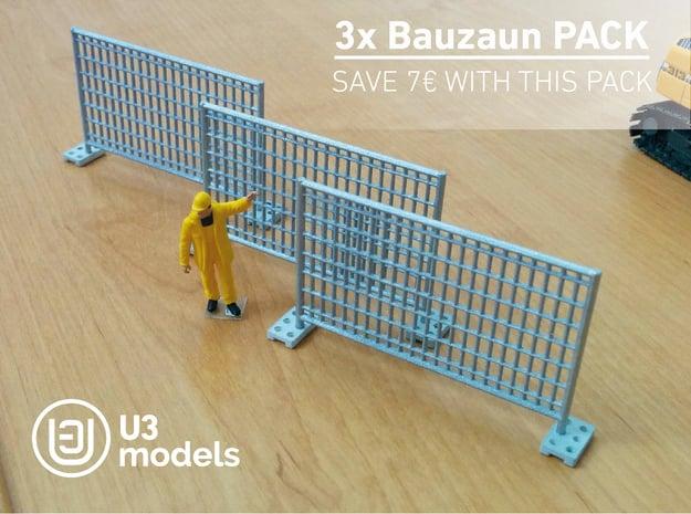 3X Pack 1:50 Bauzaun / Construction fence in White Natural Versatile Plastic