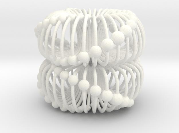 Double Torus 40mm Electromagnetic Field in White Processed Versatile Plastic
