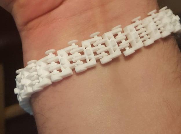 Track Bracelet in White Natural Versatile Plastic: Medium