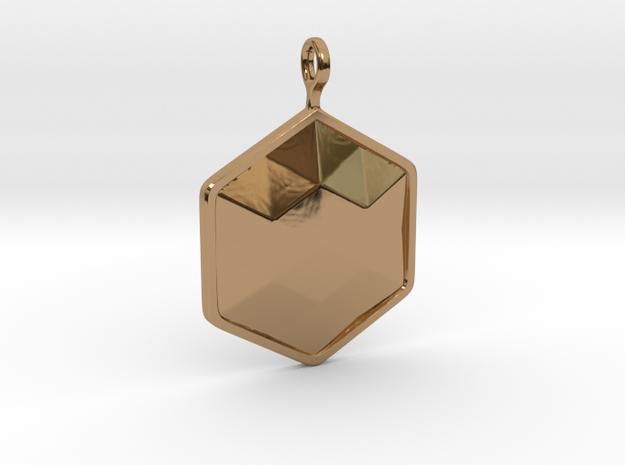 Geometric Hexagon Pendant in Polished Brass