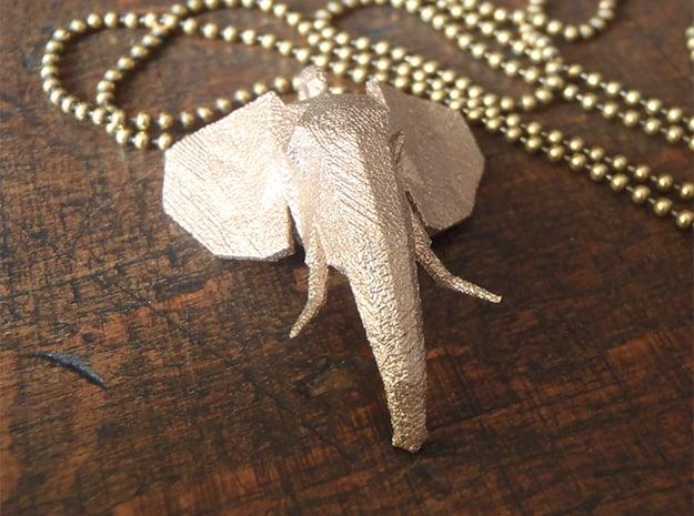 Elephant Head in Polished Bronzed Silver Steel