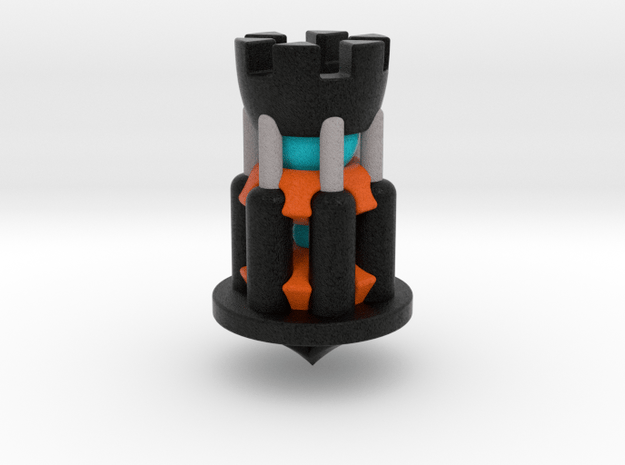 Galaxy Chess - Rook Black in Full Color Sandstone