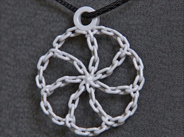 Chain Link Pendant in White Processed Versatile Plastic