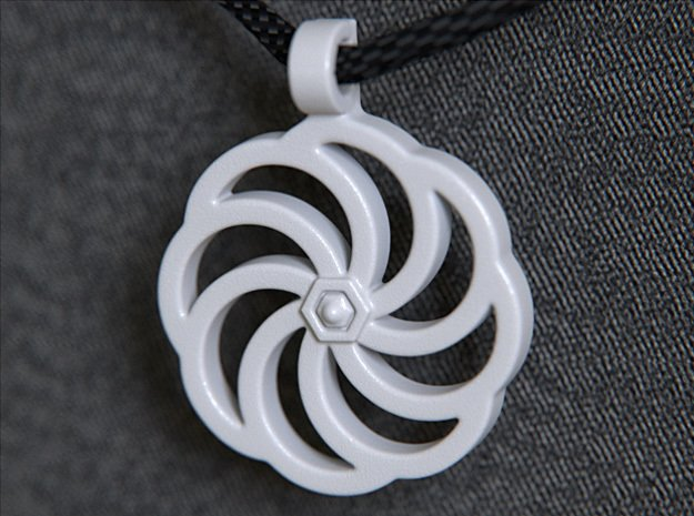 Wheel Of Eternity Pendant in White Processed Versatile Plastic
