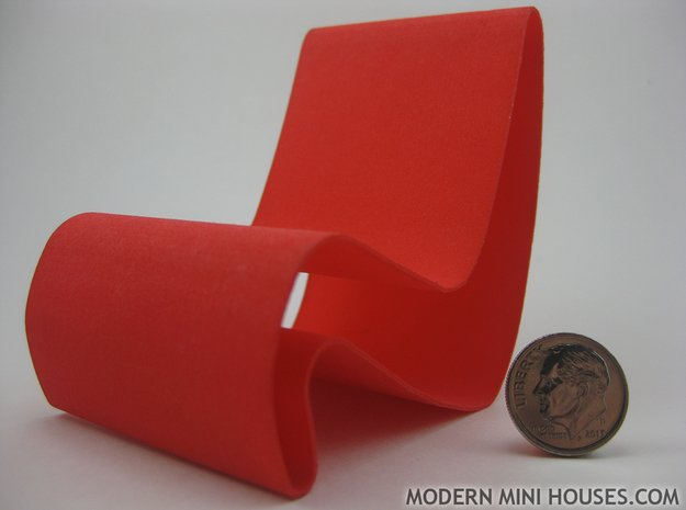 1:12 scale Amoeba modern miniature chair in White Processed Versatile Plastic