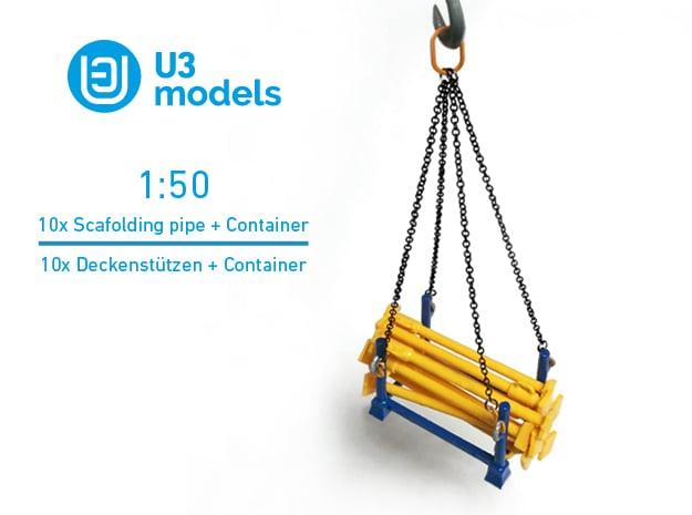 1:50 10x Scafolding pipe + 1x Container box PACK / in White Natural Versatile Plastic