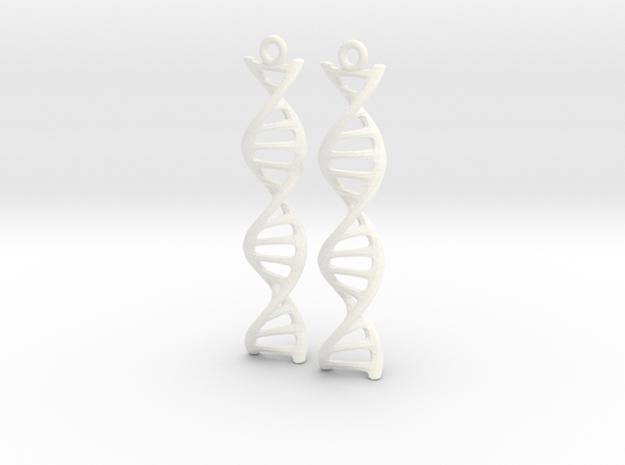 DNA Earrings in White Processed Versatile Plastic