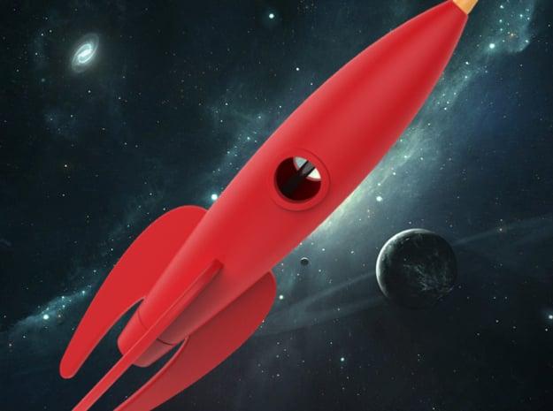 Retro Rocket Pen Holder in White Natural Versatile Plastic