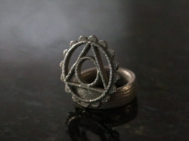 5th Chakra Ring in Polished Bronzed Silver Steel