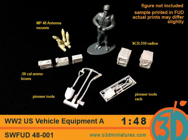 WW2 US Vehicle Equipment A 1/48 scale SWFUD-48-001 in Smooth Fine Detail Plastic