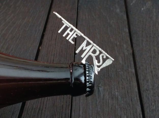 The Mrs Bottle Opener Keychain in Polished Nickel Steel