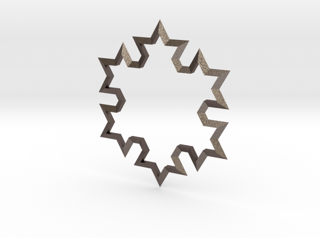 SnowFlake in Polished Bronzed Silver Steel