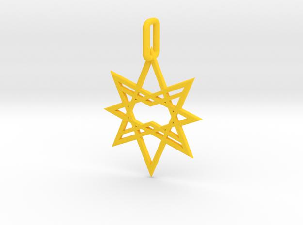 Double Octagon Star Pendant in Yellow Processed Versatile Plastic