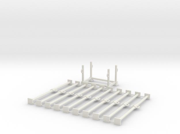 1:50 10x LONG Scafolding pipe + 1x Container box P in White Natural Versatile Plastic