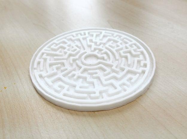 Maze Coaster in White Natural Versatile Plastic
