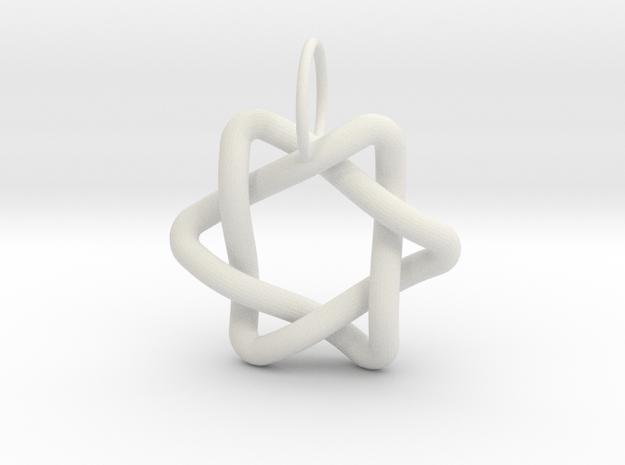 Interlacing Triangle Pendant in White Natural Versatile Plastic