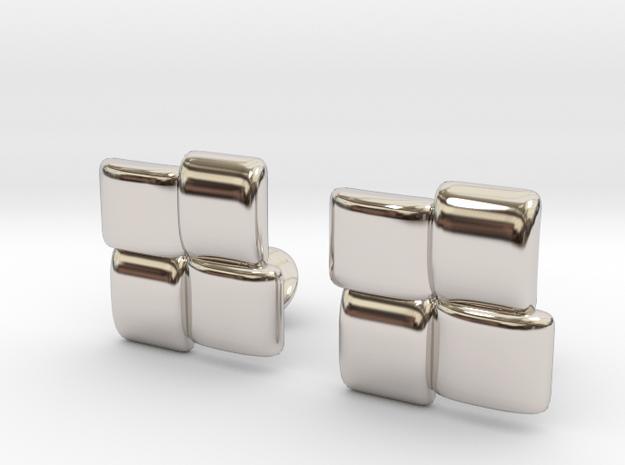 Square Cufflinks in Rhodium Plated Brass
