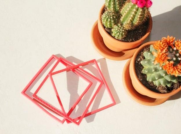 Interlocking Square Bracelets Medium in Red Processed Versatile Plastic