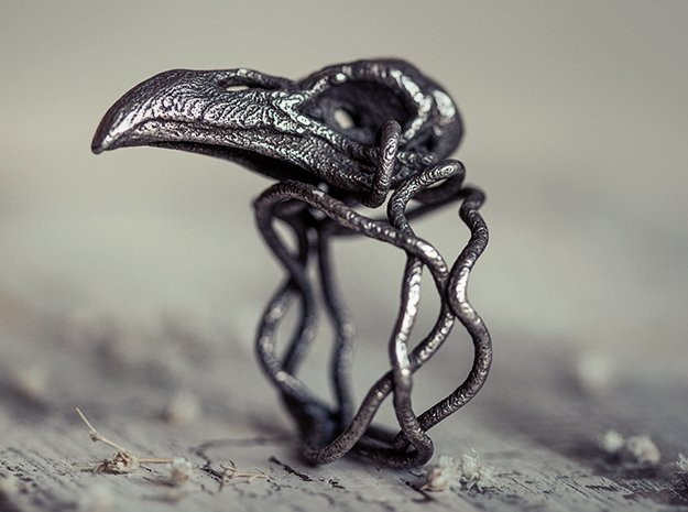Raven skull ring  in Polished Bronzed Silver Steel