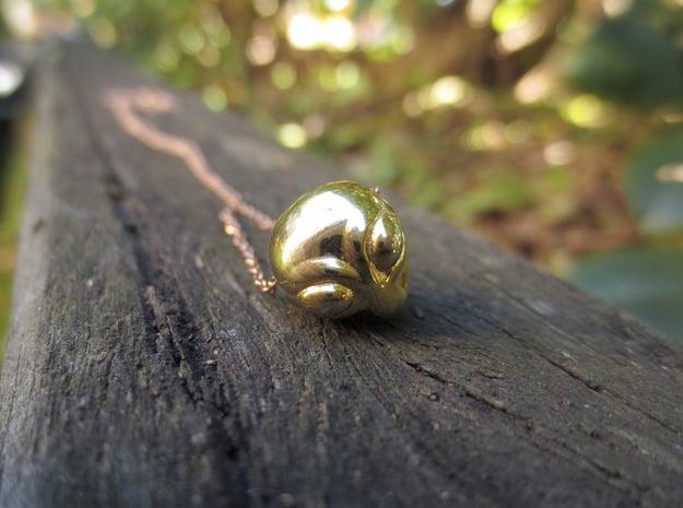 Reversible Alien head pendant in 18k Gold Plated Brass