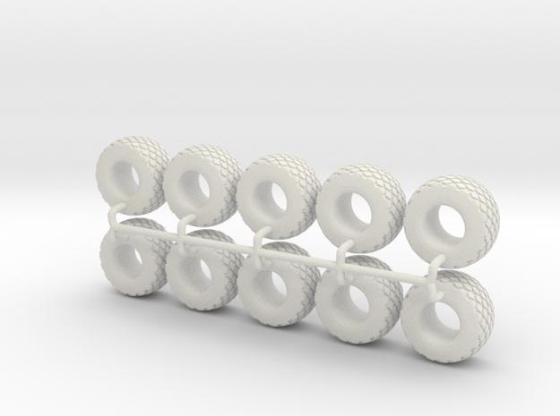 1/64 28L-26 Tires in White Natural Versatile Plastic