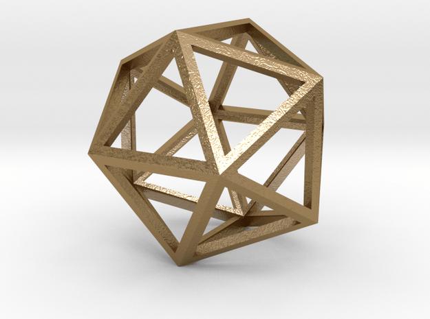 Icosahedron Pendant in Polished Gold Steel