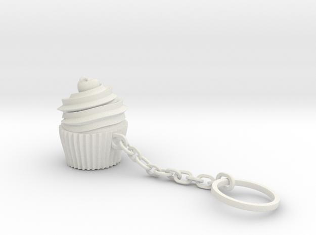Cupcake Keychain in White Natural Versatile Plastic
