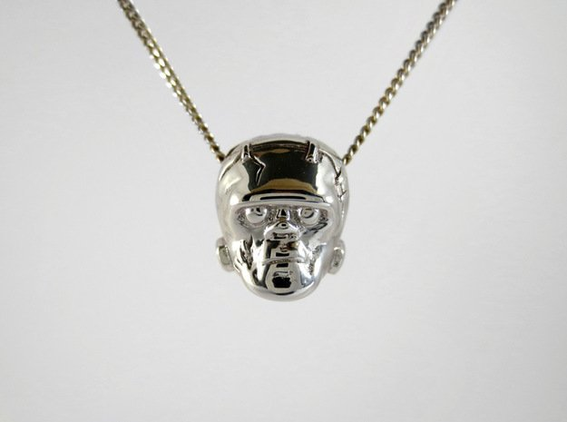 Reversible Frankenstein head pendant in Rhodium Plated Brass