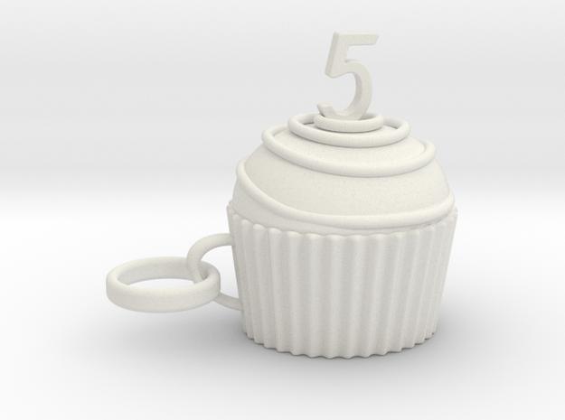 Cupcake 5 in White Natural Versatile Plastic