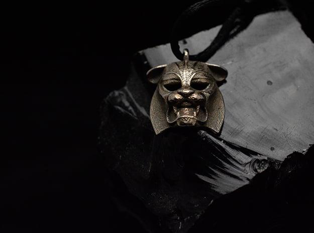 Tiger kabuki-style  Pendant in Polished Gold Steel