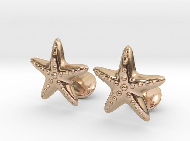 Starfish Cufflinks in 14k Rose Gold Plated Brass