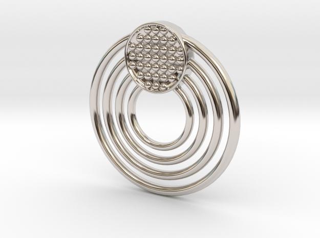 Circular Pendant in Rhodium Plated Brass