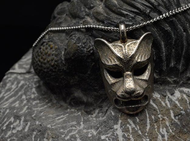 Leopard kabuki-style Pendant in Polished Bronzed Silver Steel