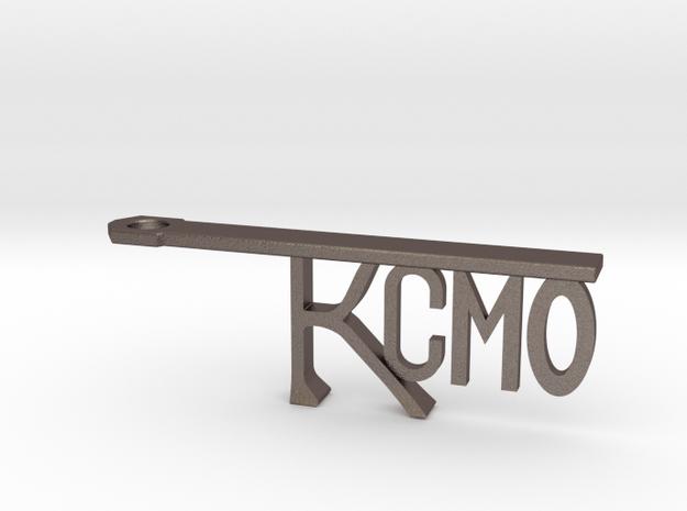 KCMO Bottle Opener Keychain - Kansas City in Polished Bronzed Silver Steel