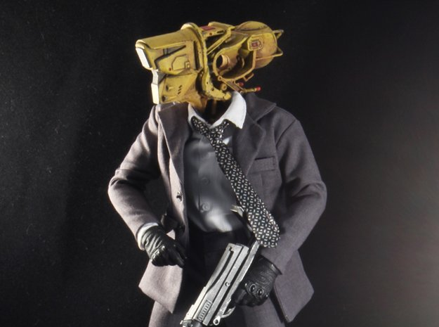 """Cyber Soldier"" custom 1:6th scale head in White Natural Versatile Plastic"