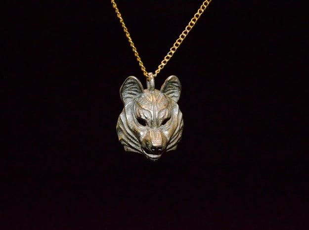 Siberian Husky Pendant in Polished Bronzed Silver Steel