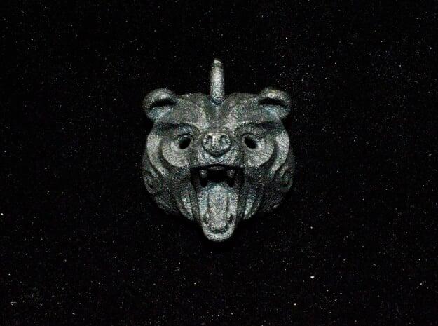 Grizly Bear Pendant in Matte Black Steel