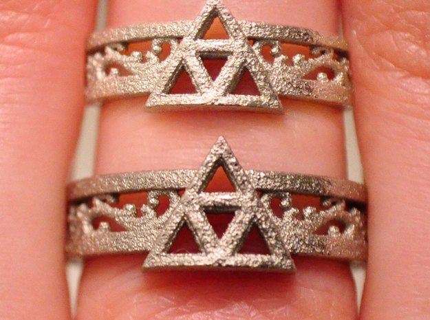 Triforce Ring_Size8 in Polished Nickel Steel