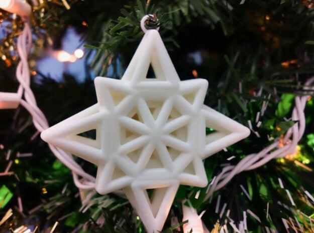 Wireframe Star Ornament in White Natural Versatile Plastic