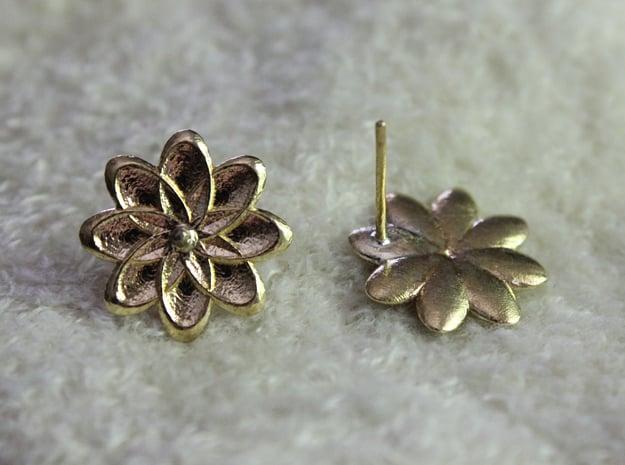 Flora Earrings in Natural Brass