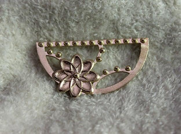 Flora Crescent Pendant in Natural Brass