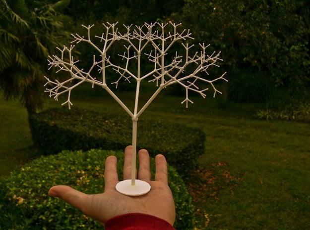 3D Golden Lévy Fractal Tree in White Natural Versatile Plastic
