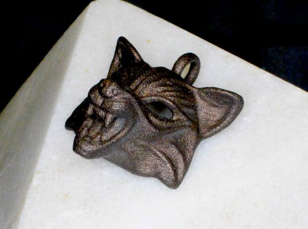 Fox type 2 Pendant in Polished Bronzed Silver Steel