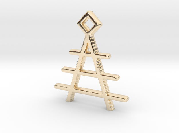 Temple Pendant in 14k Gold Plated Brass