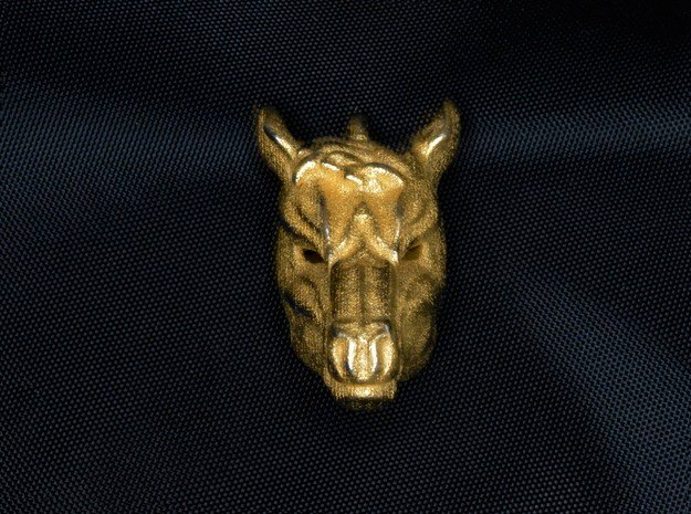 Horse 2 Pendant in Polished Gold Steel